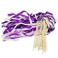 CODOHI Silk Ribbons Wish Wand Fairy Sticks,Wedding Party Favor(30 Pack)