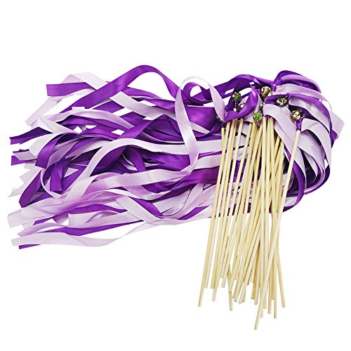 CODOHI 30 Pack Silk Ribbons Wish Wand Fairy Sticks Streamers with Bell, Purple Color Theme, for Party, Wedding, Bridal Shower ()