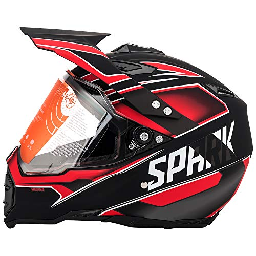 Red Shield Visor - Motorcycle Modular Full Face Helmet Off-Road Dirt Bike Motorcycle Flip up Dual Visor Sun Shield Red Black XL by MotorFansClub