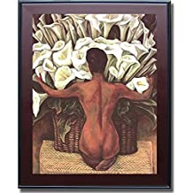 Nude with Calla Lillies by Diego Rivera Premium Mahogany Framed Canvas (Ready-to-Hang)