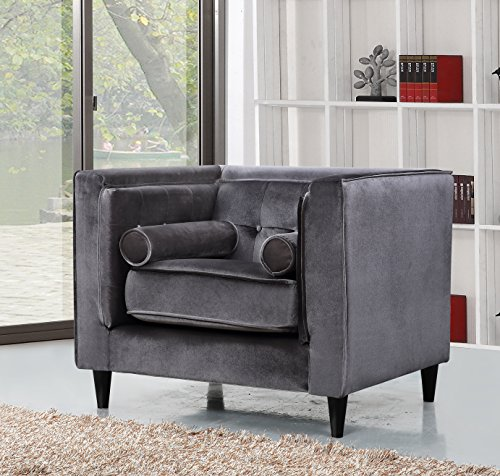 Arm Chair Custom Chairs (Meridian Furniture 642GRY-C Taylor Button Tufted Velvet Upholstered Armchair with Square Arms, Custom Solid Wood Legs, and Included Bolster Pillows, Grey)