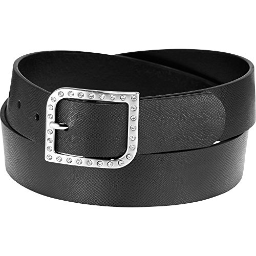 Maggie Lane Women's Rhinestone Buckle with Reptile Grain Strap Belt( COLOR: Black, WAIST:Large ) (Reptile Buckle Belt)