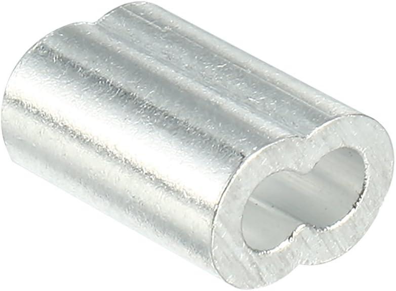sourcing map Cable de 1.2 mm Cable de acero Mangas de aluminio Clip de engarzado Loop 100pcs