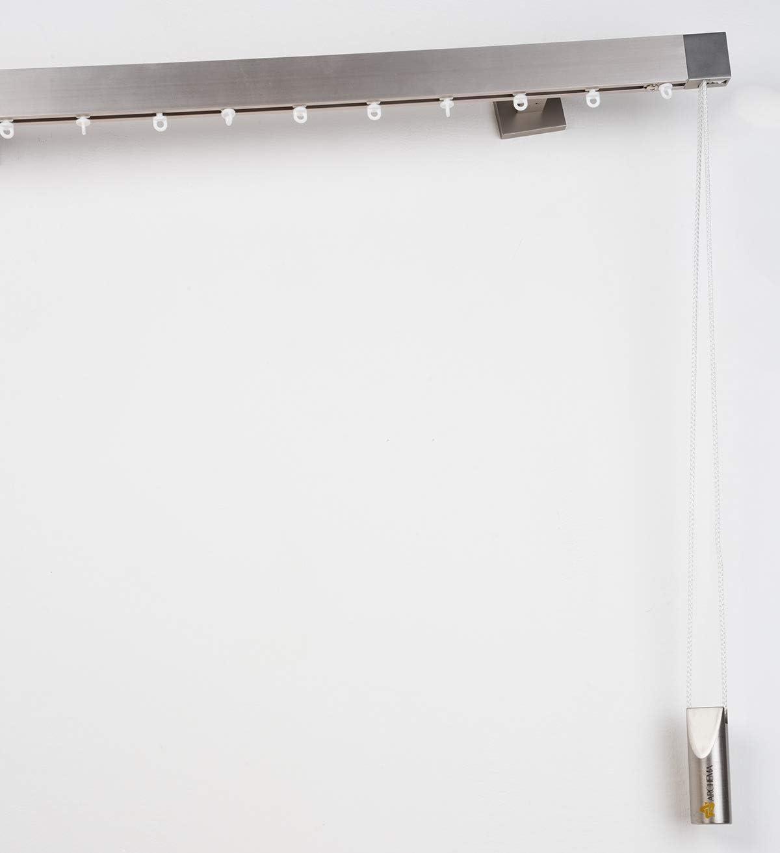in Acciaio Satinato Completo InCasa Binario per Tende 35 x 15 mm Effetto Wave con Comando a Corda L 100 cm