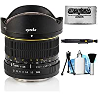 Opteka 6.5mm f/3.5 HD Aspherical Fisheye Lens for Canon EOS 80D, 77D, 70D, 60D, 60Da, 50D, 7D, 6D, 5D, 5DS, 1DS, T7i, T7s, T7, T6s, T6i, T6, T5i, T5, T4i, T3i, T3, SL2 and SL1 Digital SLR Cameras