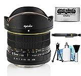 Opteka 6.5mm f/3.5 HD Aspherical Fisheye Lens for Canon EOS 80D, 77D, 70D, 60D, 60Da, 50D, 7D, 6D, 5D, 5DS, 1DS, T7i, T7s, T7, T6s, T6i, T6, T5i, T5, T4i, T3i, T3, SL2 and SL1 Digital SLR Cameras