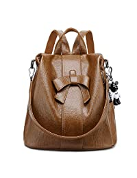 Women ANTI-THEFT Backpack Purse PU Washed Leather Convertible Ladies Rucksack Shoulder Bag