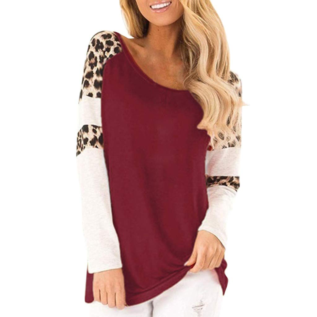 QIUUE Women Elegant Leopard Print Sweatshirt Long Sleeve Splicing Blouses Round Neck Casual Tops Comfy Patchwork Pullovers Wine by QIUUE