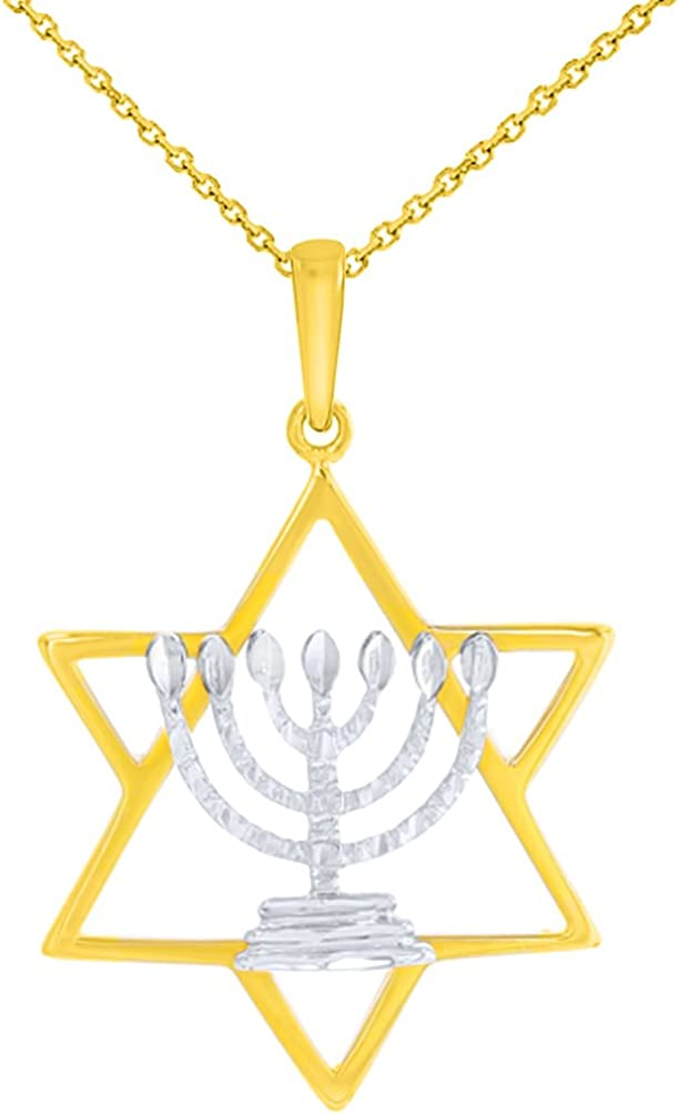 14K Two-Tone Gold Jewish Star of David with Textured Menorah Pendant Necklace