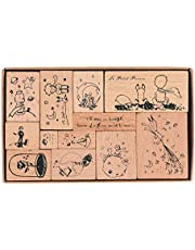 Wooden Rubber Stamps, NOGAMOGA 12pcs Rubber Stamp with 11 Sizes, Decor Stamps for Card, DIY, Paper Crafts, Bullet Journal, Photo Album, Hand Book