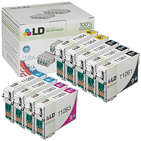 LD Remanufactured T126 / 126 Set of 9 High Capacity Ink Cartridges: 3 black (T126120) & 2 Cyan (T126220), 2 Magenta (T126320), 2 Yellow (Epson Wf 520 Black)