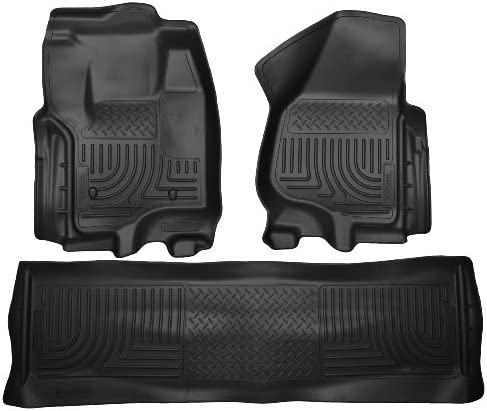 Amazon Com 2012 2015 Ford F 250 F250 Super Duty Crew Cab Weatherbeater Floor Mats Liners Husky Black Front Rear Automotive