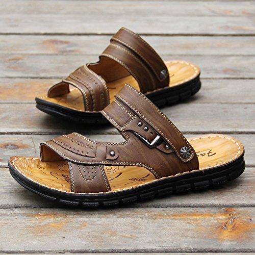 ZHANGJIA Herren Fashion Schuhe, Toe Sandalen, Sommer Legere Schuhe, Koreanisch Weichen Boden Dual-Purpose Rutschfeste Hausschuhe, 38, Hellgelb 103