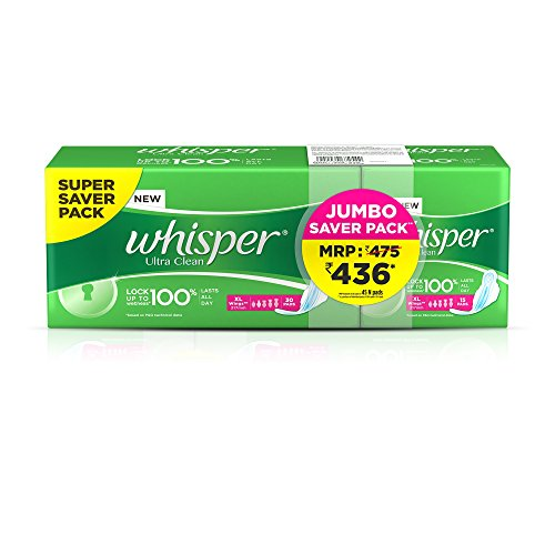 Whisper Ultra Clean – XL Wings (45 Pads)