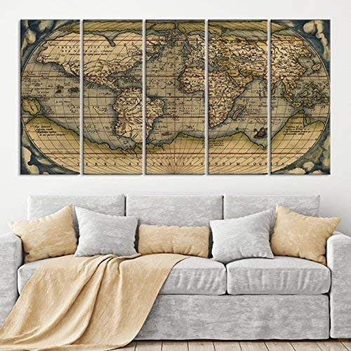 Amazon.com: 5 Panel Antique World Map Canvas Print, Old ... on earth map canvas, old world map canvas, map wall art, ikea world map canvas, united states map canvas,