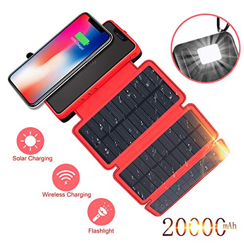 Solar Charger 20000mAh Soluser Wireless Portable Power Bank High Capacity External Battery Backup with 3 Solar Panels Emergency LED Flashlight Dual 5V/2.1A USB Ports for -