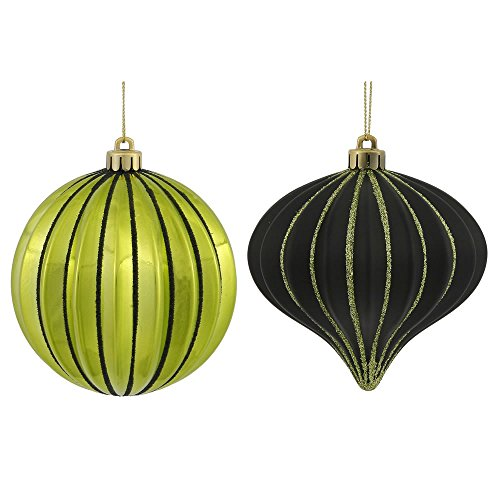 9ct Lime Green & Black Glitter Striped Shatterproof Christmas Onion and Ball Ornaments 4
