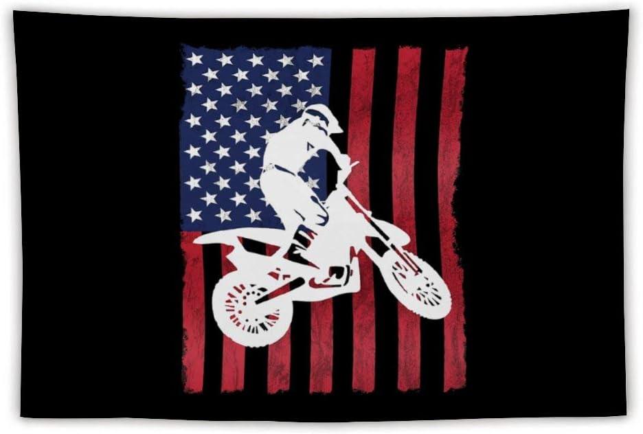 Dirt Bike Motocross Supercross USA Flag Tapestry Wall Hanging Tapestry for Living Room Bedroom Dorm Home Decor