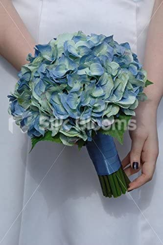 Amazon Com Simple Aqua Blue Hydrangea Artificial Bridal Wedding