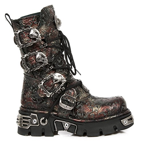 391 s26 Red M Cuero Botas Rock New Rojo Metallic 0wYt6U