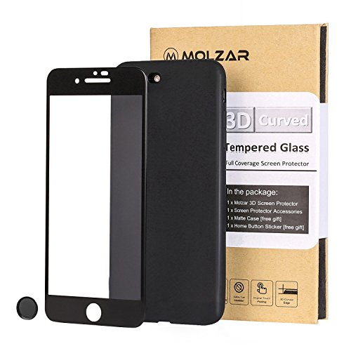 iPhone 8 Plus 7 Plus 3D Curved Full Coverage Edge to Edge HD Crystal Clear Bubble Free Tempered Glass Screen Protector with Soft TPU Case and Home button Sticker for iPhone 8 Plus 7 Plus [Black] (Screen Sticker Protector)