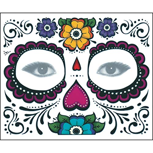 2PCS Face Mask Day Of The Dead Dia de los Muertos Sugar Skull Tattoo Beauty SPE969 -