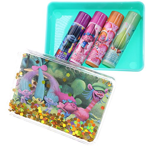 UPD Townley Girl DreamWorks Trolls Super Sparkly Lip Balm for Girls, with Decorative Carrying tin
