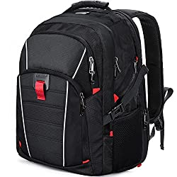 Laptop Backpack Travel 17.3 Inch Waterproof USB Charging Port Business College Students Computer Bag Large Capacity Backpack for Men Women Black