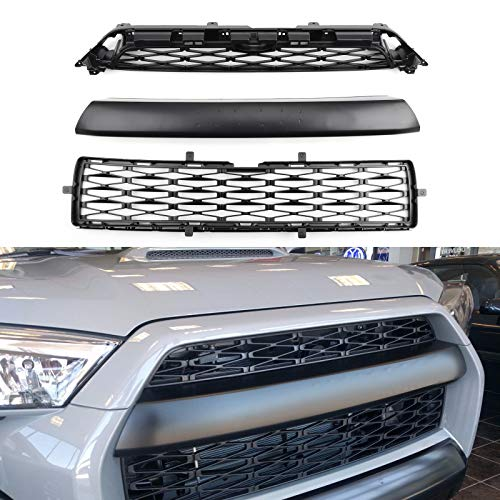 Artudatech 3 Piece Front Bumper Grille Replacement Kit For To-yo-ta 2014-2019 4Runner TRD PRO 3 Piece Bumper Grille