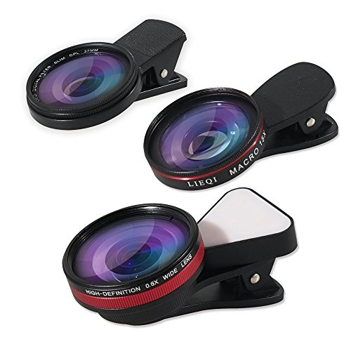 LIEQI Phone Camera Lens,4 in 1 Clip-on Rechargeable Lens Kit 0.6X Super Wide Angle + 15X Macro Phone Camera Lens + Filter CPL +10 LED Light for iPhone x,iphone 8 7 6s 6 Plus 5s Samsung Android & by LIEQI