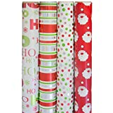 JAM Paper® Christmas Design Wrapping Paper - Classic Christmas - 180 Sq Ft. - 4/pack