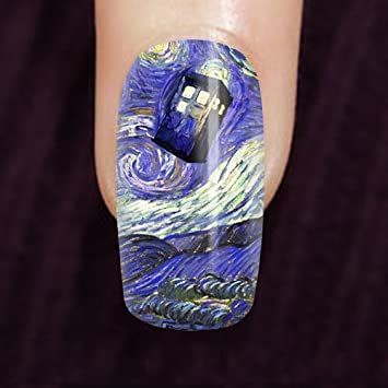 Amazon Tardis Doctor Who On Starry Night Stick On Nails Art