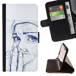 Momo Phone Case / Flip Funda de Cuero Case Cover - Pintura Chica Cold Winter Pintura Arte - Apple Iphone 5C