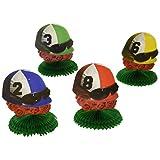 Beistle 57472 4-Pack Jockey Helmet Centerpieces, 4-1/2-Inch