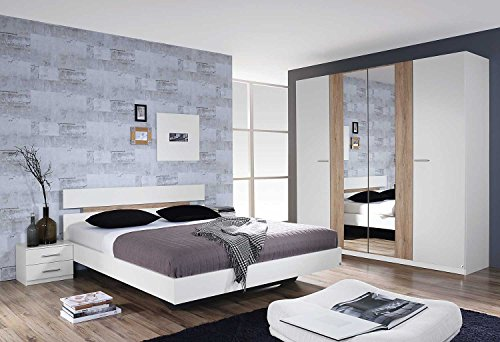 Schlafzimmer, Schlafzimmermöbel, Set, komplett, Komplettset, Schlafzimmereinrichtung, komplettangebot, Einrichtung, 3-teilig, weiß, San Remo, Rauch
