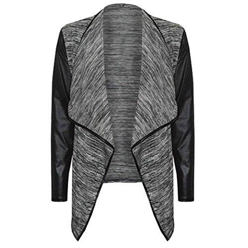 New Womens WetLook PU PVC Arms Long Sleeve Ladies Waterfall Cardigan Blazer Top