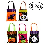 5pcs Halloween Candy Bags Trick or Treat Candy Snacks Tote Bags Gift Bags for Halloween Party & Holiday