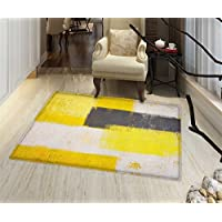 Grey and Yellow Bath Mats Carpet Abstract Grunge Style Brushstrokes Painting Style Floor mat Bath Mat for tub 32x48 White Charcoal Grey and Pale Yellow