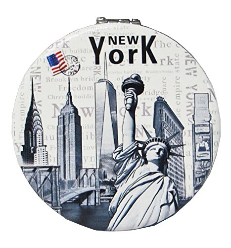 Stores 5th Avenue New York - New York Souvenir Cosmetic Compact Stainless Steel Metal Leather Wrapped Mirror