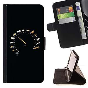 ForSamsung Galaxy S3 MINI i8190 (NOT S3) Case , Animal velocidad Velocímetro- la tarjeta de Crédito Slots PU Funda de cuero Monedero caso cubierta de piel