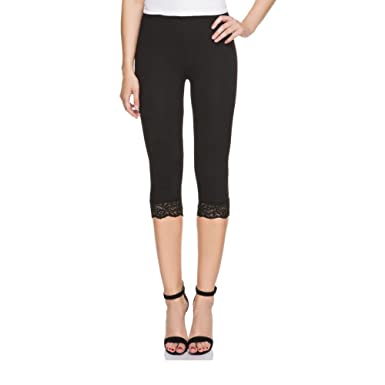 1ee97b7ca2b98 Ladies Womens Cropped 3/4 Length Leggings with Lace Trim Edges Stretch  Trouser Pants Jeggings Plus Size: Amazon.co.uk: Clothing