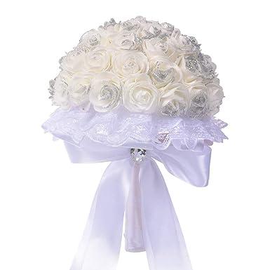 1 Bouquet Fleurs Artificielles De Roses Nuptiale Feuilles