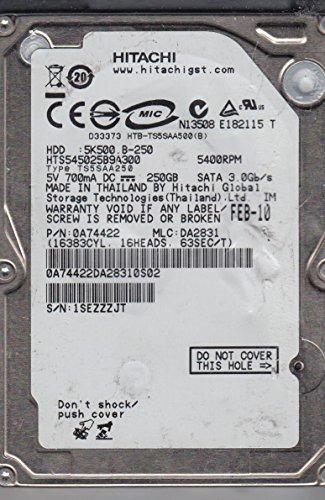 HTS545025B9A300, PN 0A74422, MLC DA2831, Hitachi 250GB SATA 2.5 Hard (Hitachi Sata Controller)