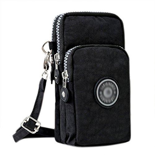 3-Layers Cellphone Pouch Wristlet Purse Waterproof Sports Armband Shoulder Bag Wallet (Black)