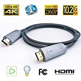 FIBBR Ultra Fiber Optic HDMI Cable 32ft, Support 4K@30Hz 3D IMAX 10.2Gbps High Speed 4K HDMI Cable Certified