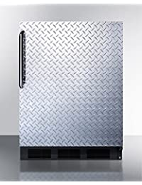 Summit FF7BBIDPLADA Refrigerator, Silver With Diamond Plate