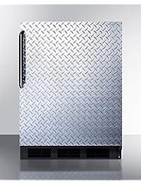 Summit FF7BBIDPLADA Refrigerator, Silver With Diamond Plate