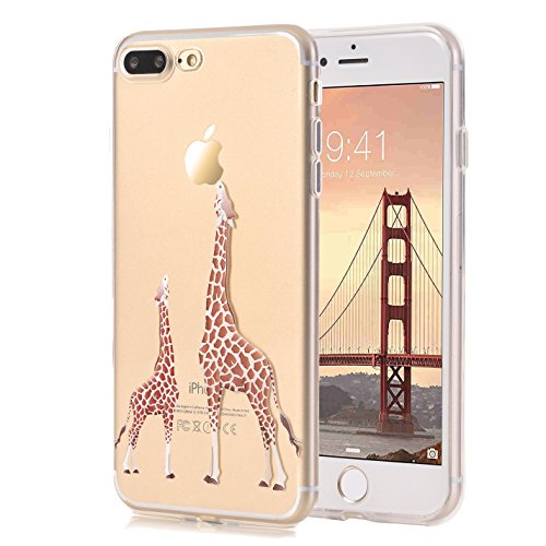 iPhone 7 Plus Case, LUOLNH [New Creative Design] Flexible Soft TPU Silicone Gel Soft Clear Phone Case Cover for iPhone 7 Plus 5.5 inch,( 2 Giraffe)