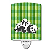 Caroline's Treasures Panda Ceramic Night Light, Green, 6  x 4