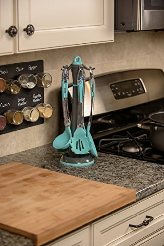 5-Piece Kitchen Utensil Set w/ Rotating Stand (Blue) - Spaghetti Server, Soup Ladle, Slotted Spoon, Slotted Turner & Slotted Skimmer - Non-Stick, Heat-Resistant Silicone, Dishwasher-Safe